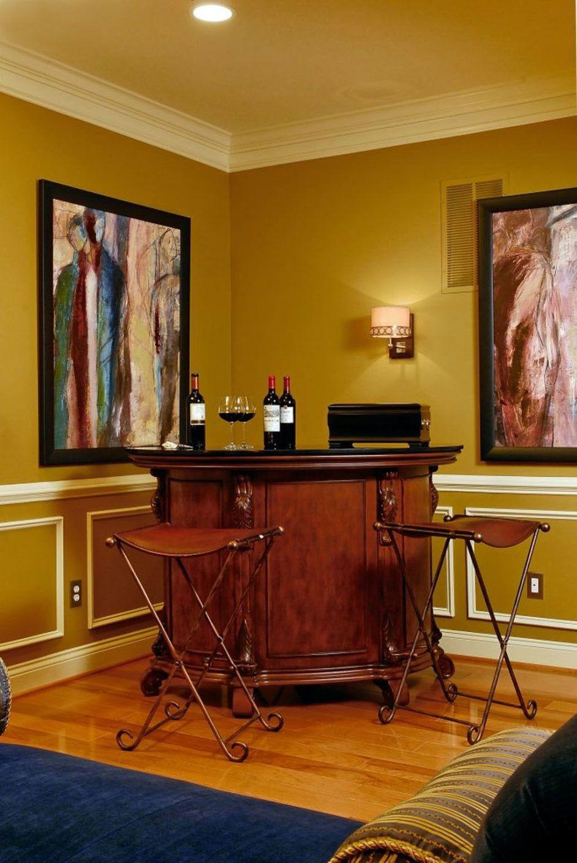 Classic Style Corner Home Mini Bar Design With Black Marble   Home Liquor Bar  Designs