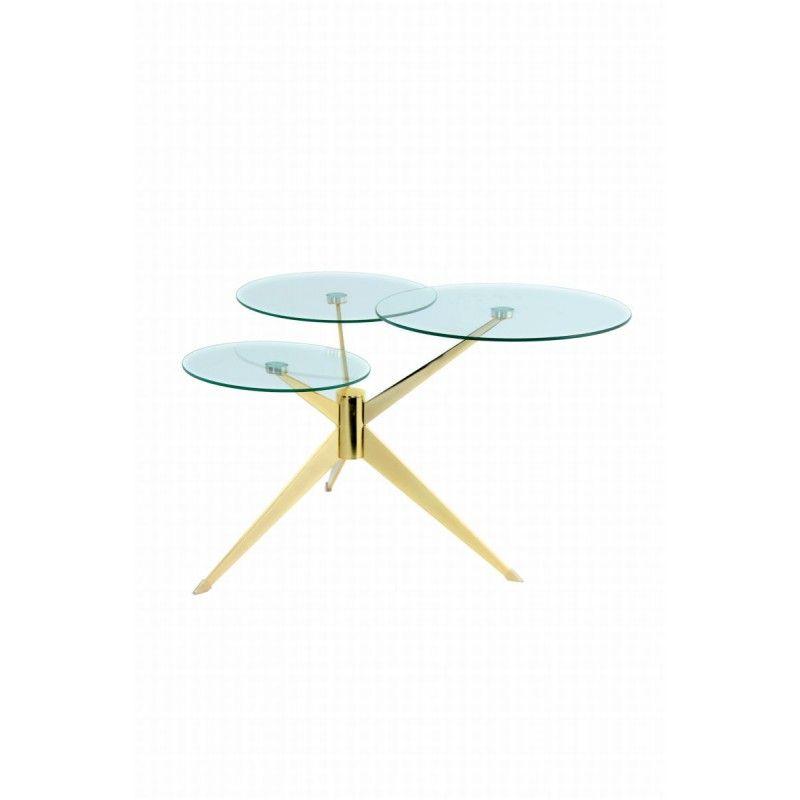 Table D Appoint 3 Plateaux Bout De Canape Marion En Metal Et Verre Transparent Dore Bout De Canape Canape En Metal Table Basse