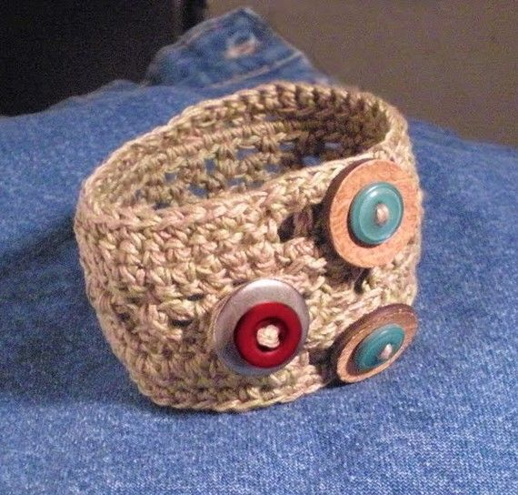 Crocheted Cuff with double strand cotton and 3 by jabakerarts