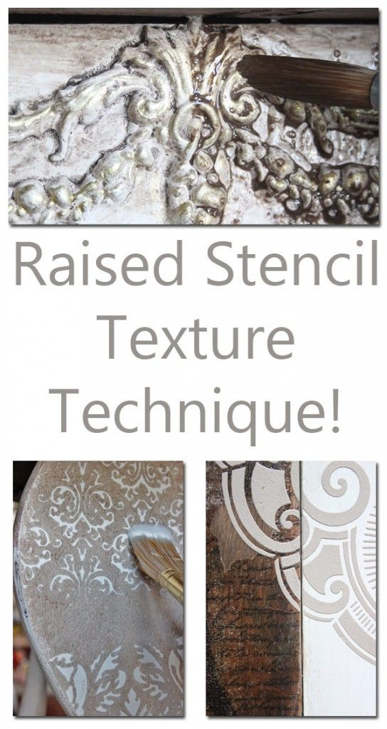 Raised Stencil Texture Technique! This is a great method for adding some interest to painted Furniture pieces. So pretty!