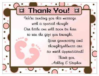 Baby Shower Thank You Notes Sample Letter Wording Example