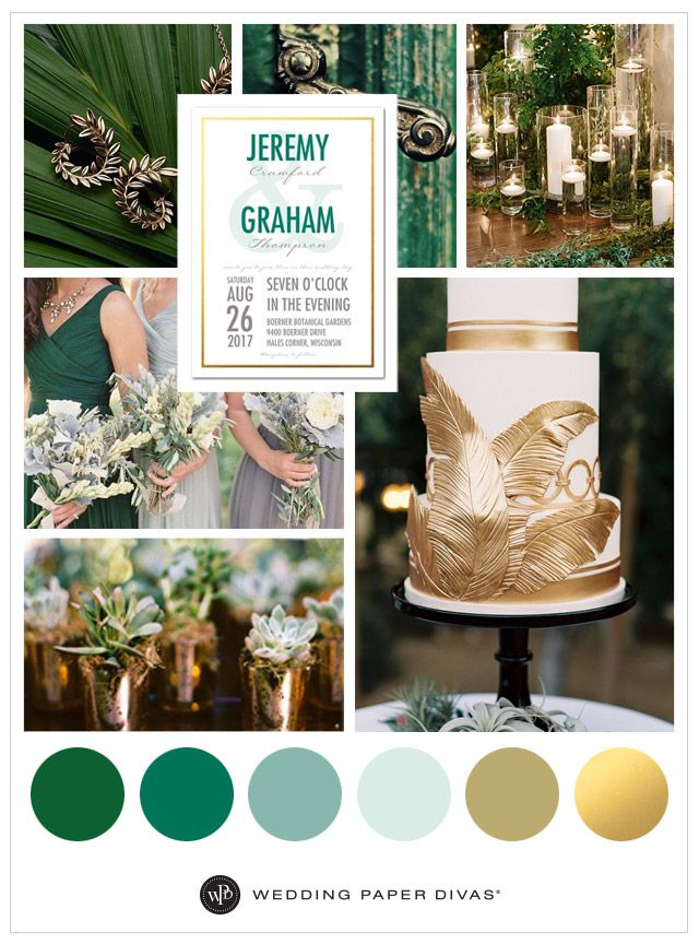 Green And Gold Forest Wedding Theme Ideas