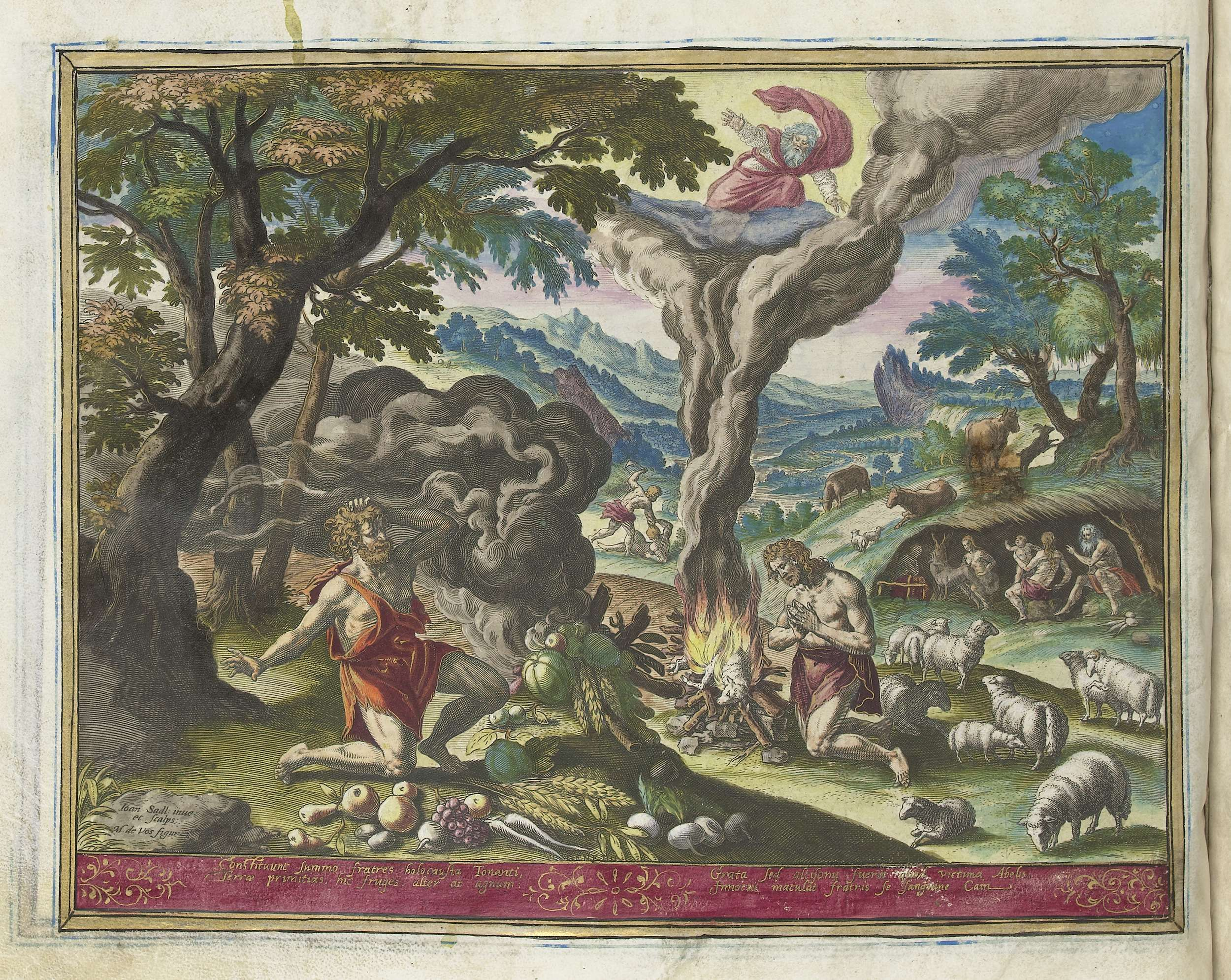 Offer van Kaïn en Abel, Johann Sadeler (I), 1583