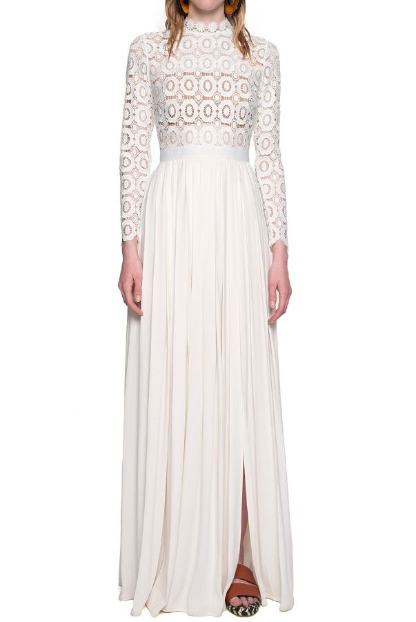 Self Portrait Pleated Crochet White Maxi Dress | Prairie Shoot ...