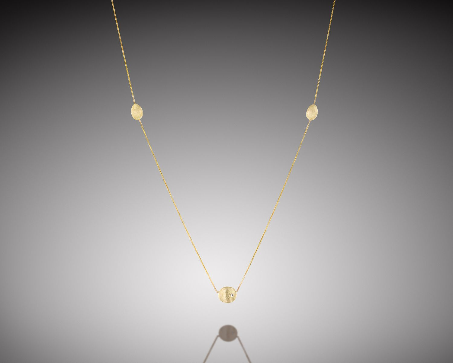 Yellow gold long necklace gold nuggets necklace elegant gold