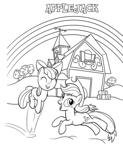 Applejack And Apple Bloom Coloring Page Png My Little Pony Coloring Coloring Books Coloring Pages