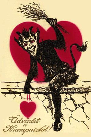 { Vintage Valentine Card / Heart / Retro Valentines / St Valentines Day / Love / Crush / offbeat / fun / unusual / Creepy Scary Strange Weird Valentine Krumpus German Valentine}