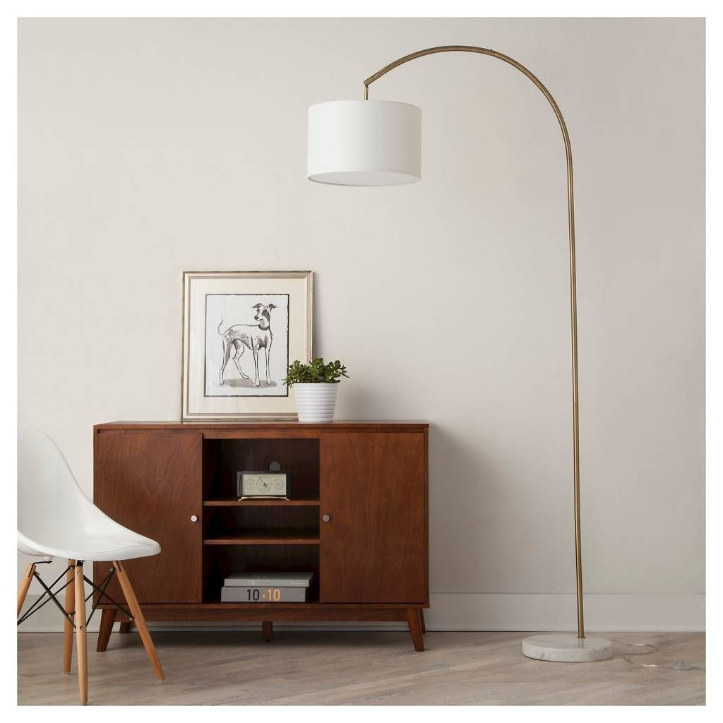 Shaded Arc with Marble Base Floor Lamp Brass (Includes LED
