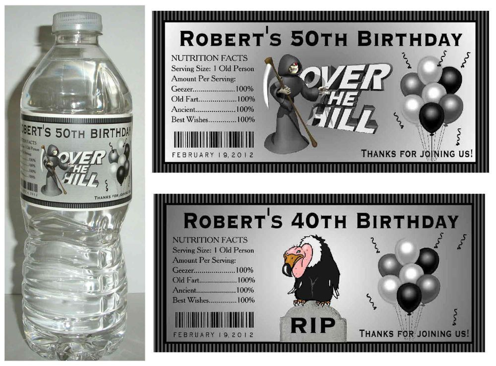 20 OVER THE HILL 40th 50th 60th BIRTHDAY PARTY FAVORS WATER BOTTLE LABELS In Favors Party Bag Fillers