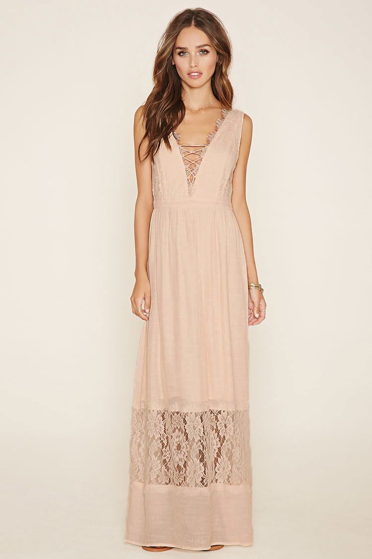 A sleeveless woven crepe dress with a floral eyelash lace overlay ...