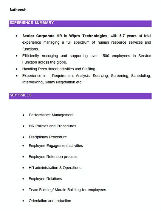 Senior Corporate HR resume template Example , Hiring Manager - hr manager resume
