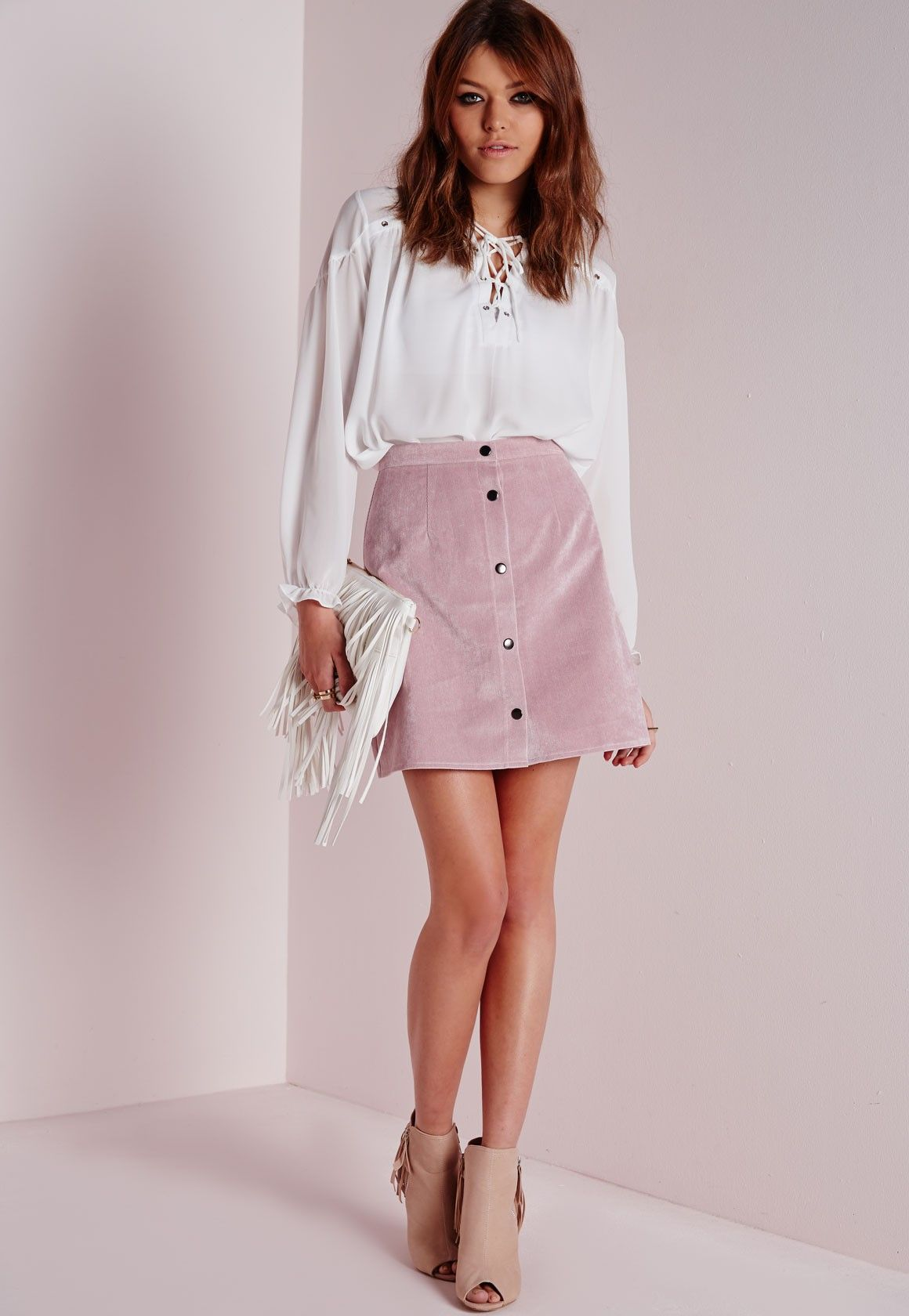 4f8a928176 Missguided - Cord Button Through A Line Skirt Mauve | Look Book ...