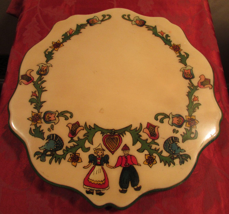 Dutch Folk Art Painted Decorative Tray.1940's or 1950's