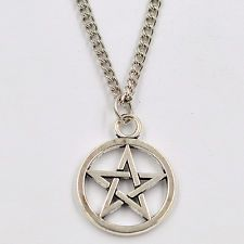 Silver Pentagram Star Pendant Chain Necklace - Wiccan Pagan Gothic Free shipping