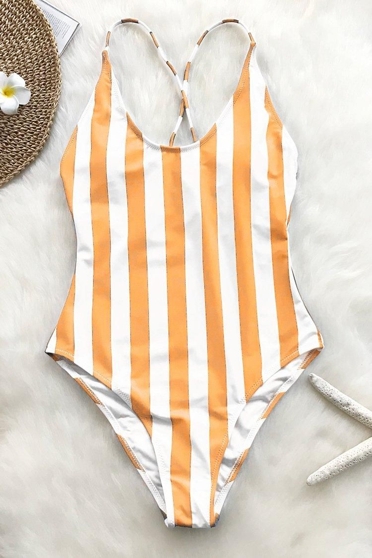 bfdc729d9fe39 #Valentine's Day Sale! #EnvyWe #CupShe - #CUPSHE Beauty Of Nature Stripe One -piece Swimsuit - EnvyWe.com