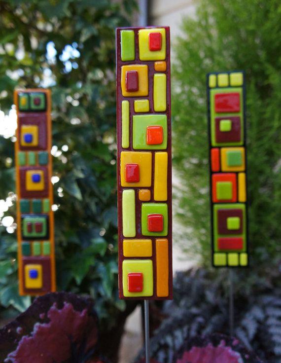 Garden Art Red Yellow Orange Green Fused Glass Garden