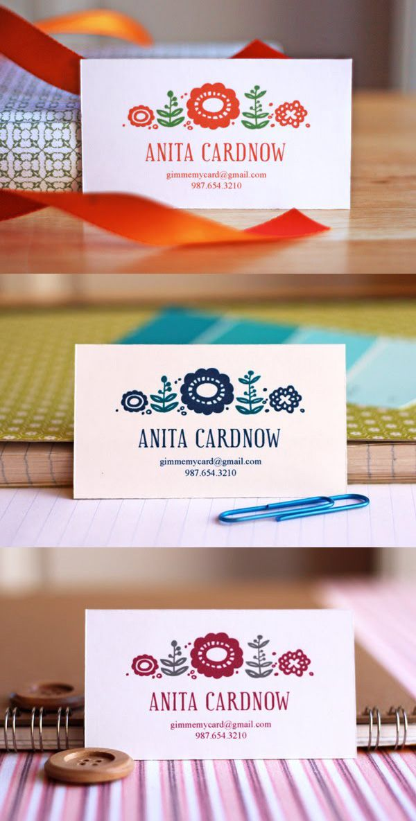 Cute Floral Business Card Template By Howaboutorange Free Printable Business Cards Printable Business Cards Diy Business Cards
