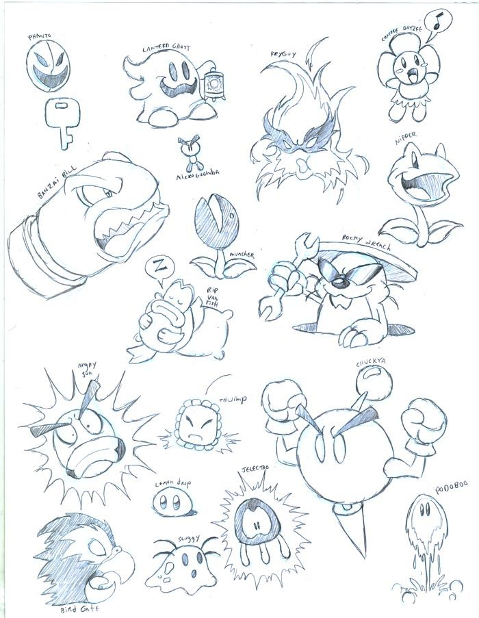 Some Mario Enemies By Greliz Doodle Art Drawing Mario Art