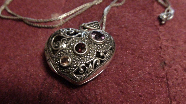 sterling silver heart locket by NewYorkJunk on Etsy