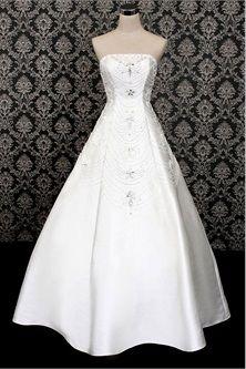 white beading sleeveless aline strapless satin wedding