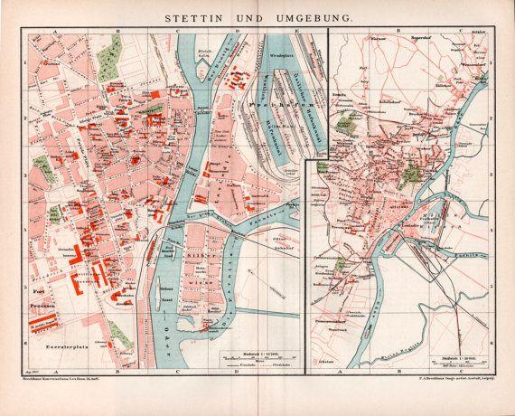 1898 Szczecin Poland Old Map Antique Print Stettin by Craftissimo