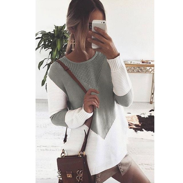 Orangeskycn Women Pullover Sweaters Fashion Sequins Long Sleeve Shirt Blouse