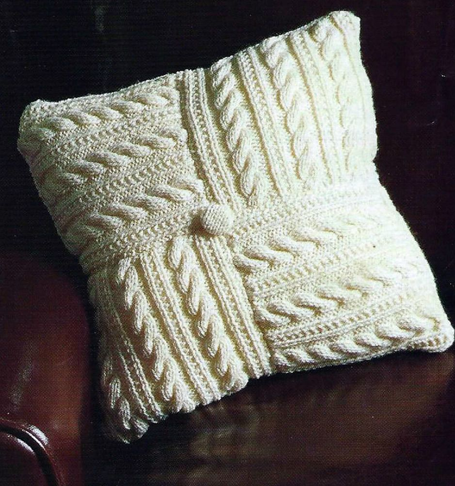 Pretty aran cushion cover pattern easy make from 8 squares (418 ...