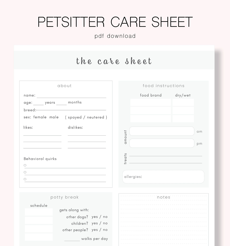 Petsitter Care Sheet Printable Pet Care Pet Info Sheet Etsy Pet Care Pet Care Business Pet Care Printables Pet sitting client information form