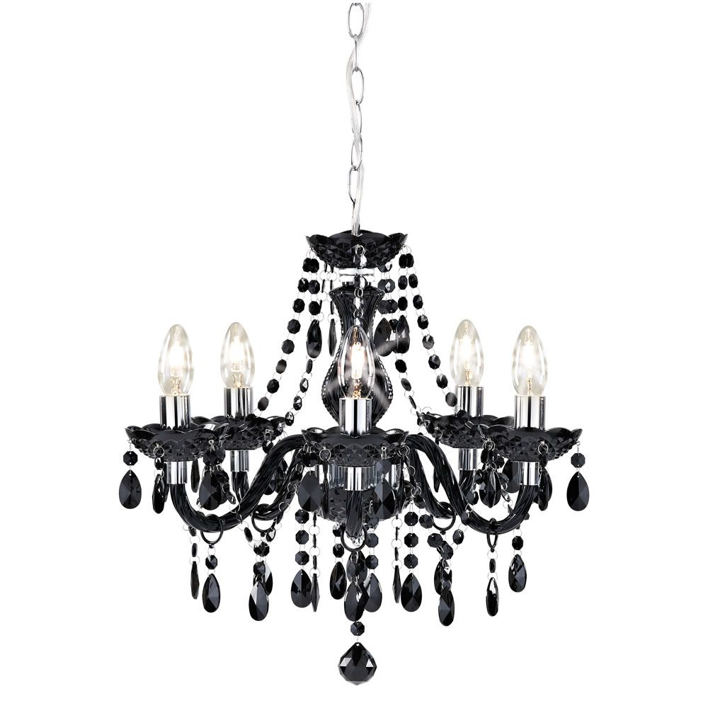 Wilko Marie Therese Chandelier Black 5 Arm