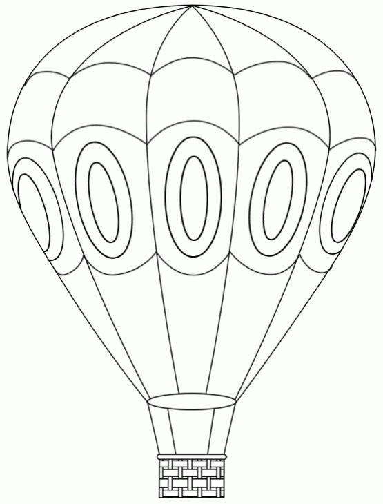 Hot Air Balloon Coloring Page For Kids | library crafts general ...