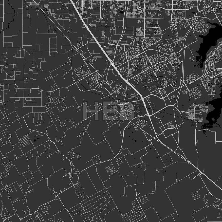 Mansfield, Texas Area Map Dark HEBSTREITS Sketches
