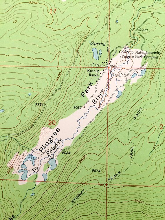 Topographic Map Rocky Mountains.Antique Pingree Park Colorado 1962 Us Geological Survey Topographic
