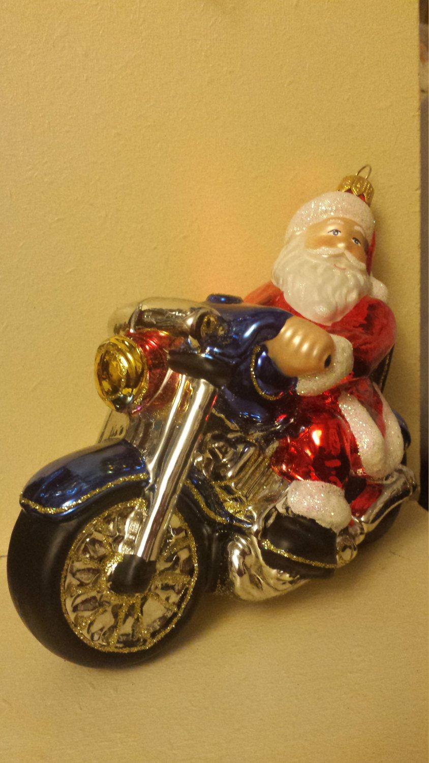Blown Glass Biker Santa Claus On A Motorbike Christmas Ornament 6 Made In Poland By Ukbeadsonline On Etsy Glass Blowing Vintage Christmas Christmas Ornaments