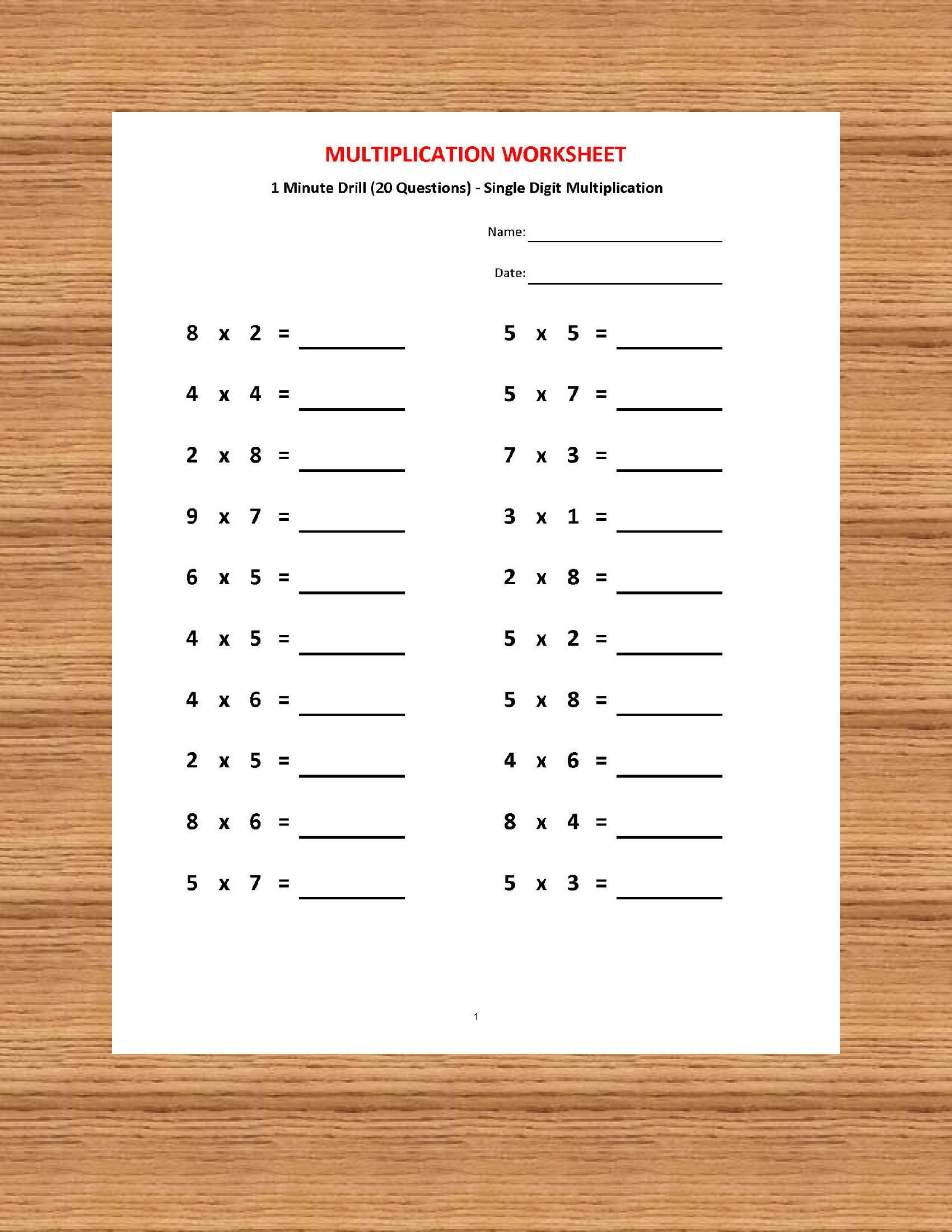 Multiplication 1 minute drill H 10 Math Worksheets with   Etsy   Math  worksheets [ 2200 x 1700 Pixel ]