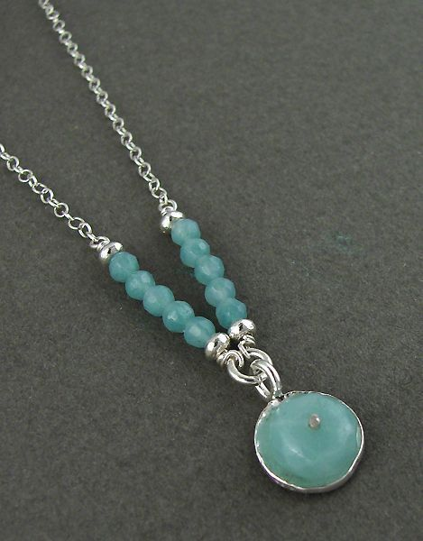Photo of Amazonite Floating in 14kt Gold Filled Circle Necklace on Oxidized Chain