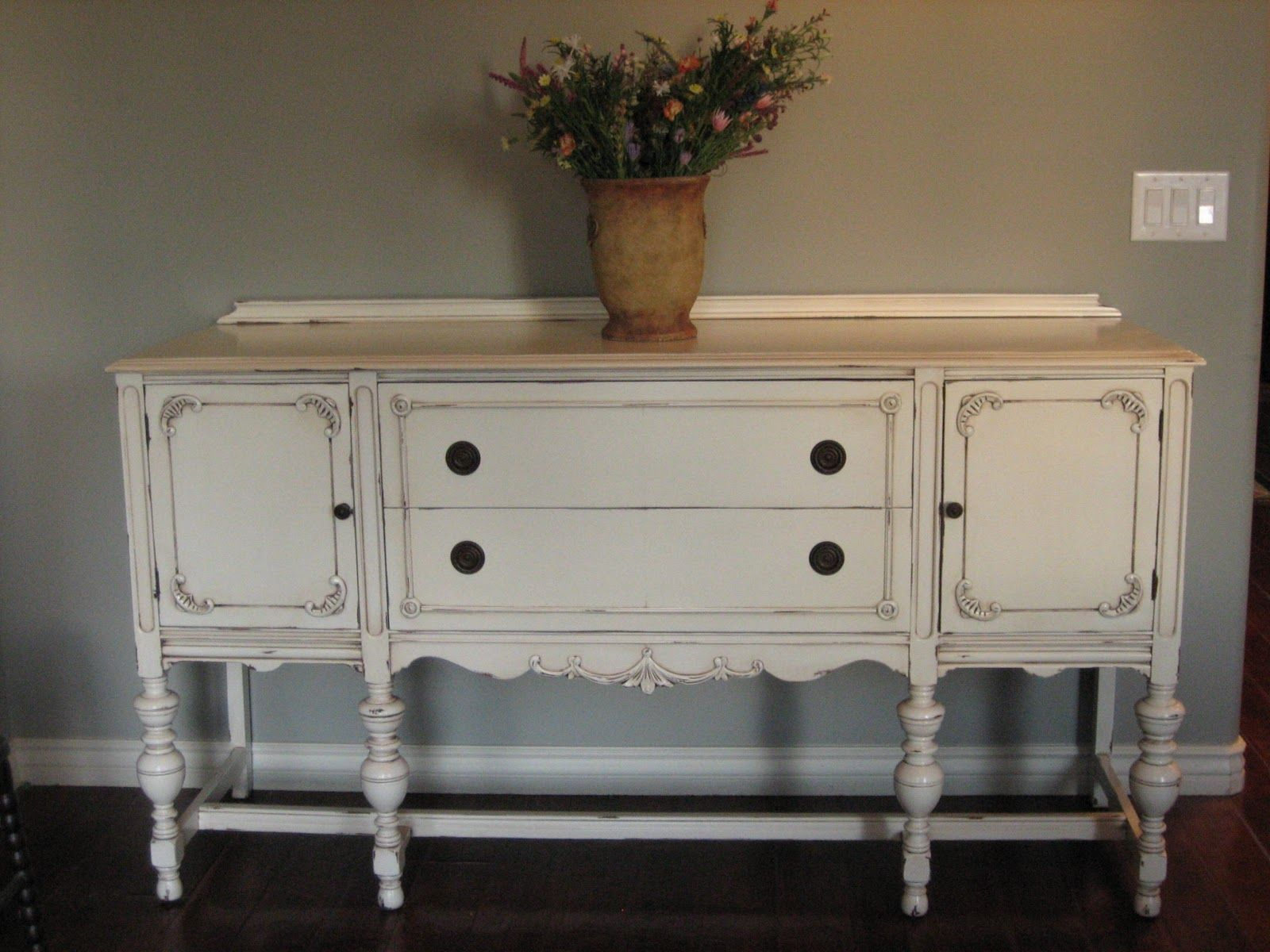 Antique buffet table furniture - European Paint Finishes Another Pretty Antique Sideboard