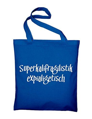 Mary Poppins Fun Jutebeutel, Beutel, Stoffbeutel, Baumwolltasche, royalblue - http://herrentaschenkaufen.de/styletex23/royalblau-mary-poppins-fun-jutebeutel-beutel