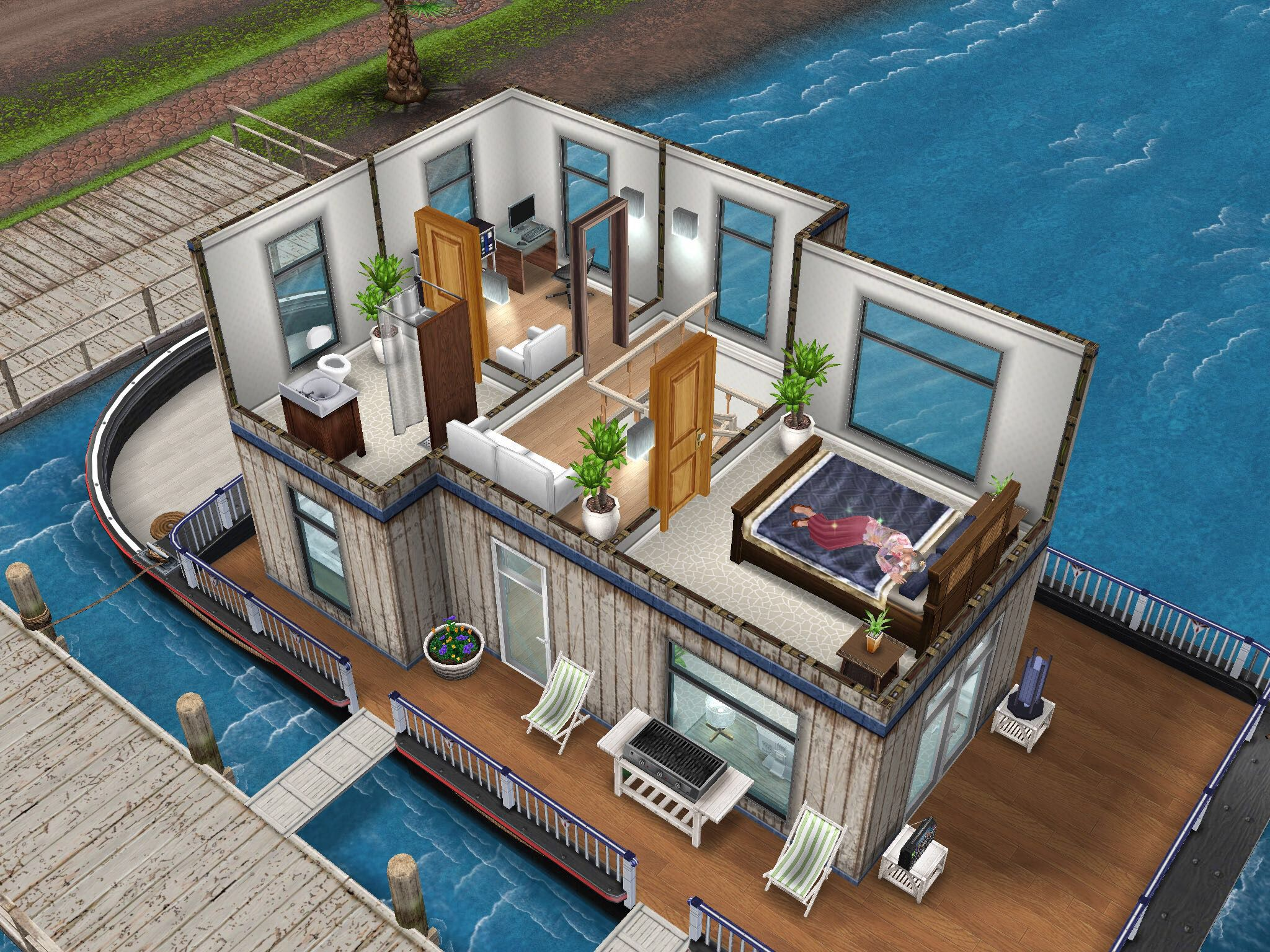 House design sims - White Inspired Houseboat Thesims Simsfreeplay Housedesign Designedbyjade Xx
