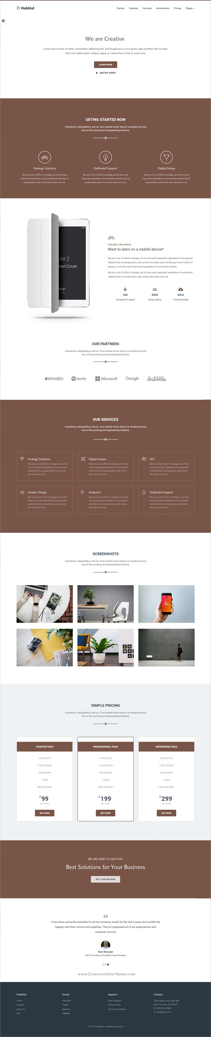 Hublind Is Clean And Modern Design 6in1 Responsive Html5 Template For Professional Landingpage Website Download Web Design Marketing Landing Page Templates