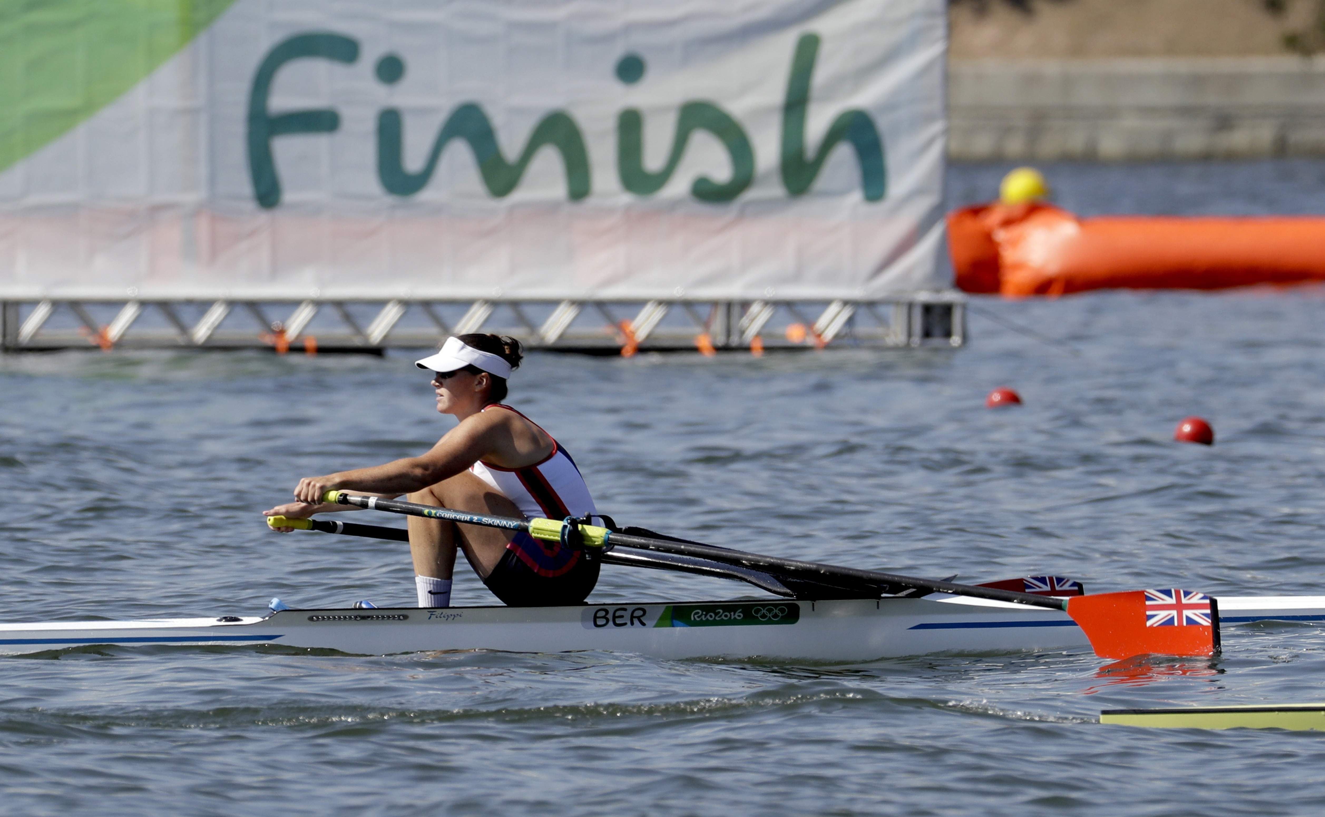 Shelley Pearson said the choppy waters of Lagoa Rodrigo de Freita were the worst conditions she has experienced after her battling third-place finish