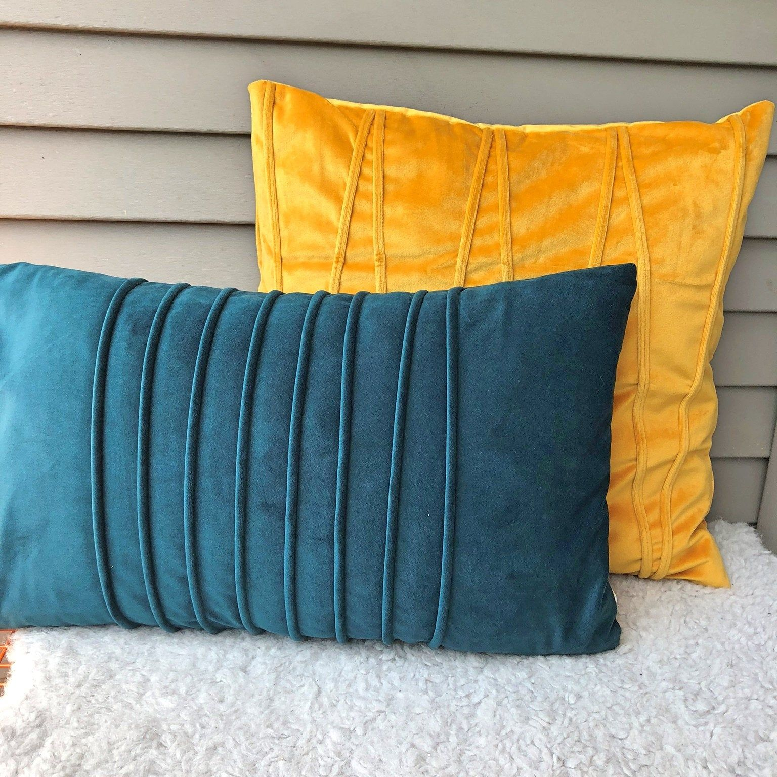 Velvet Fabric Throw Pillow Cover Soft Stylish Geometric Cushion Case Solid Color