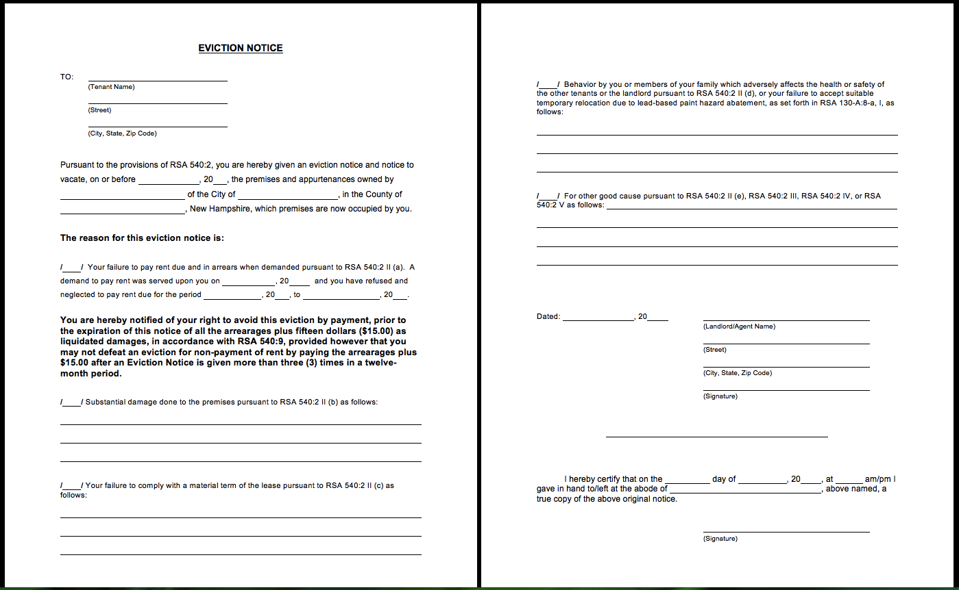 Printable Blank Eviction Notice Form - http://resumesdesign.com ...