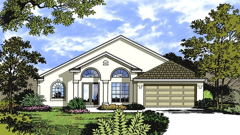 Home Plan HOMEPW77371 - 1640 Square Foot, 4 Bedroom 2 Bathroom + Mediterranean Modern Homes Home with 2 Garage Bays | Homeplans.com