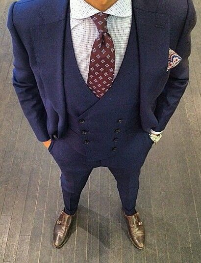 Double breasted waistcoat. | Three piece suit wedding, Blue