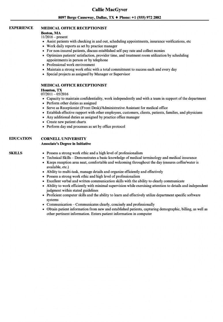 Medical Receptionist Job Description Template Excel Example In 2021 Receptionist Jobs Resume Examples Medical Receptionist