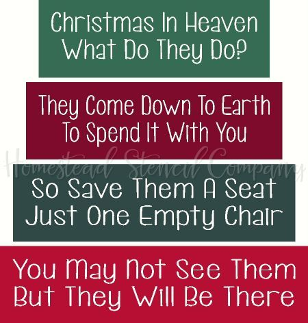 Christmas In Heaven Poem With Chair Printable.Stencil Item 6653 Christmas In Heaven Block Set Craft