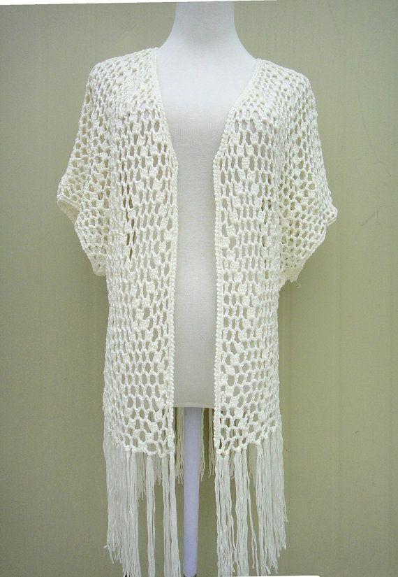Crochet Fringe Kimono Cardigan Short Sleeve Perfect to ...
