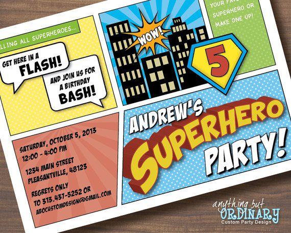 DIY Superhero Birthday Invitation Comic Book Super Hero Party Printable Digital File On Etsy 1200