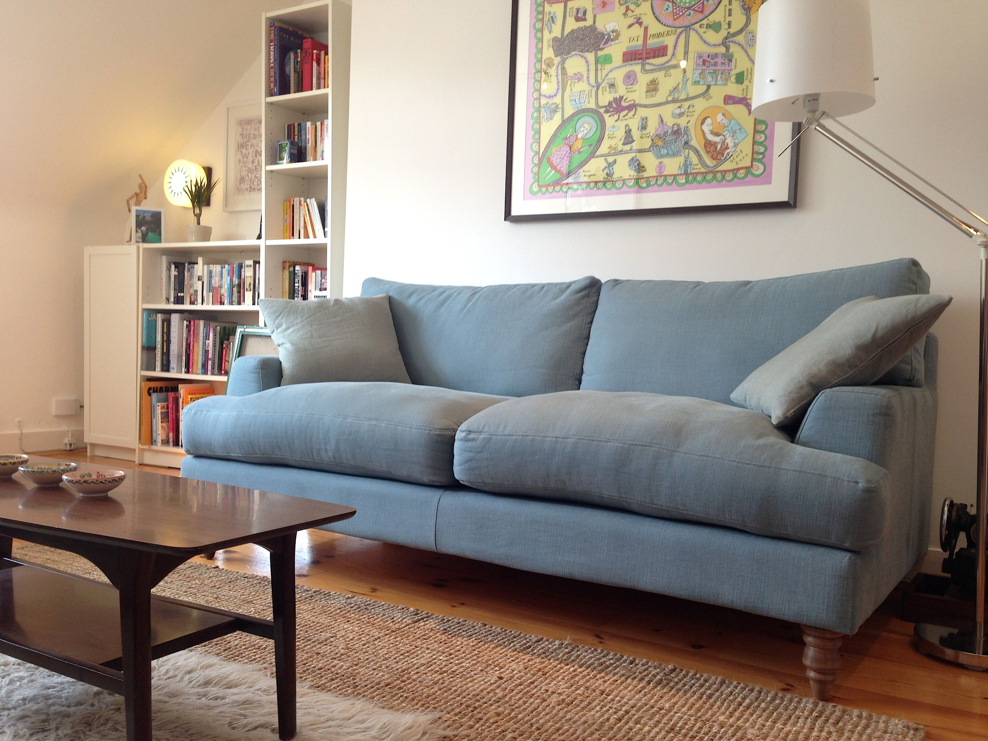 Lucy s Isla sofa in Lagoon brushed linen cotton looking neat and