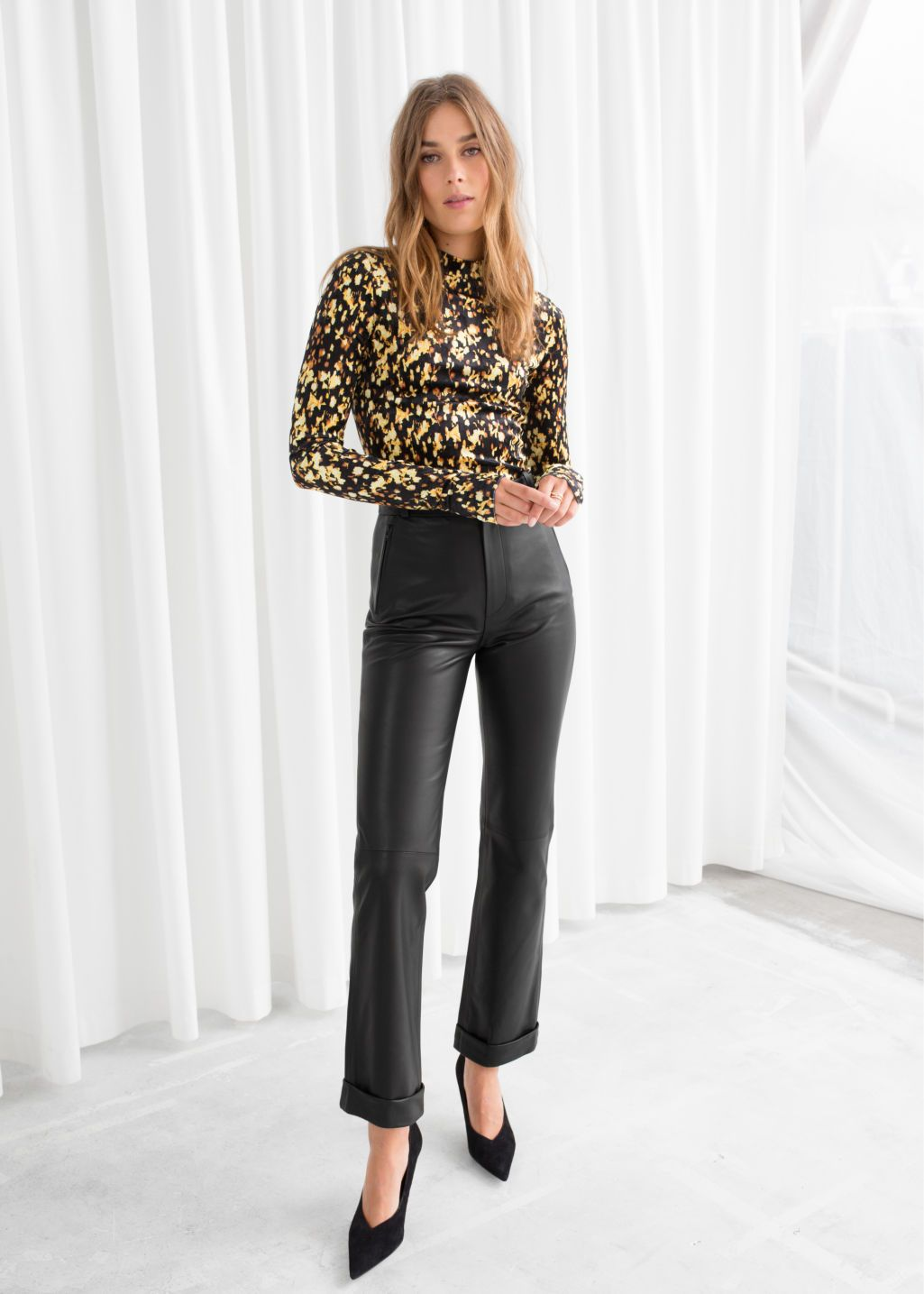 94328d9e49e7 Cuffed Leather Trousers - Black - Leather Trousers - & Other Stories